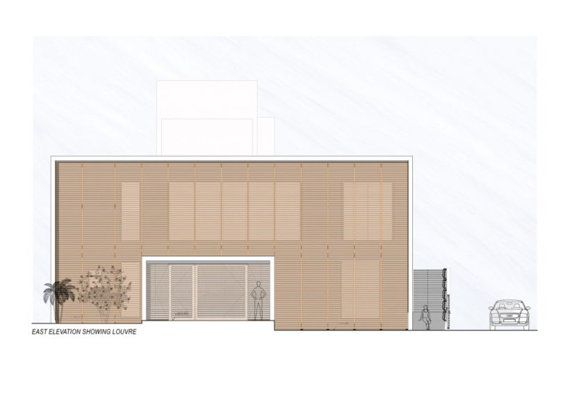 EAST_ELEVATION of Badri Residence A Modern Indian House Architecture Paradigm