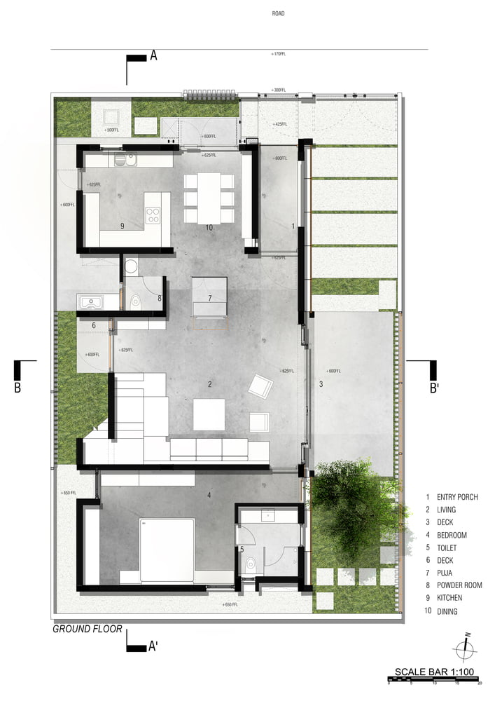 GROUND_FLOOR_PLAN of Badri Residence A Modern Indian House Architecture Paradigm