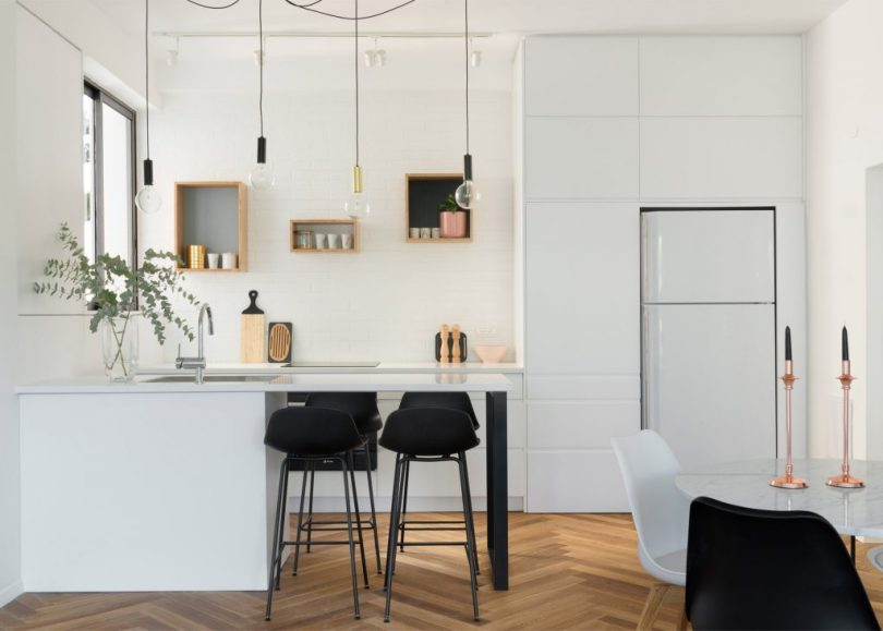 flat interior design theme in white color with wooden flooring
