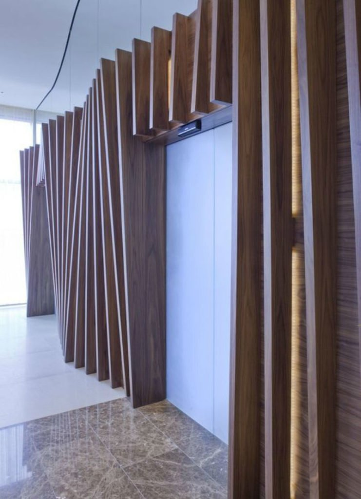 public space wood partition wall design,