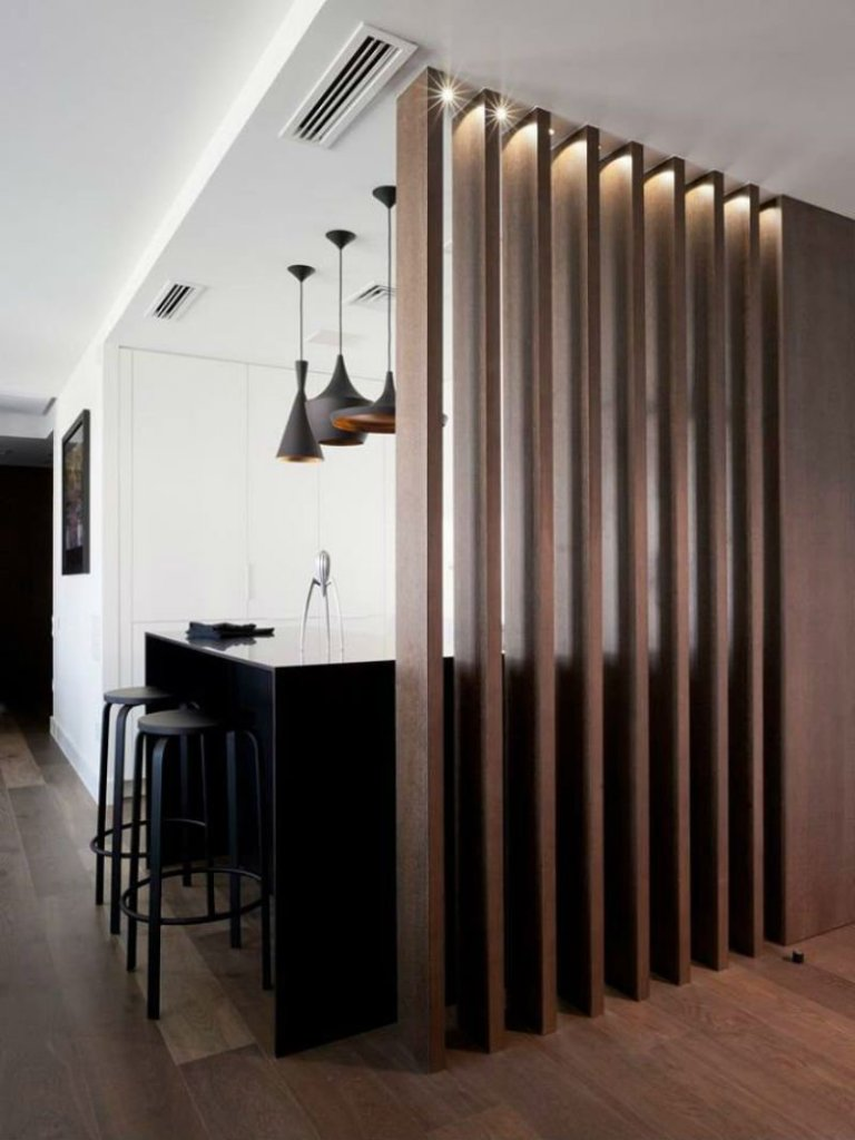 wooden partition designs between living dining,