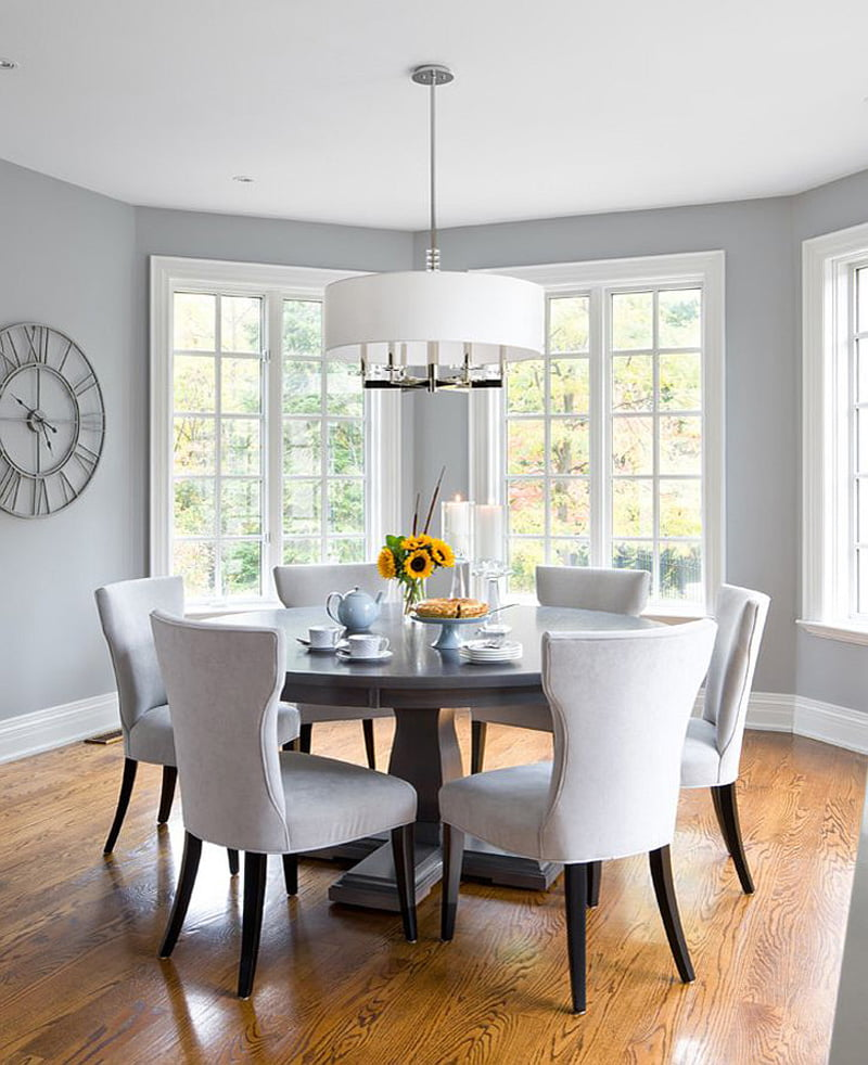 contemporary dining room with grey walls,