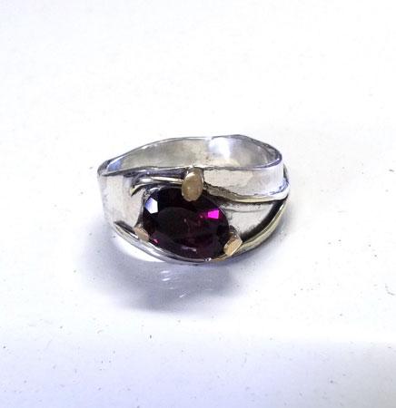 Garnet Elegance gold and silver ring