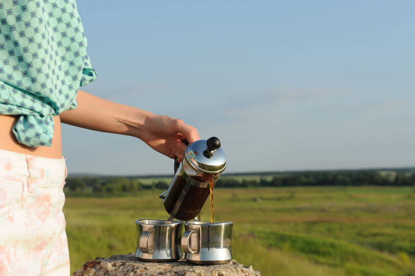 french press im freien