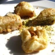 Lebanese pastries for dessert.