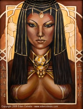 Bast, Egyptian goddess. Painting by Eden Celeste. Source: edenceleste.com and fantasticportfolios.co
