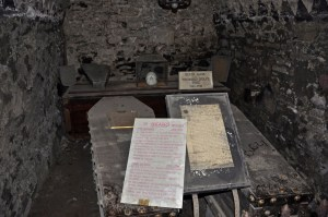 """St. Michan's Church Crypt, Ireland, with some of its coffins but not its """"mummies."""" Source: tomguildinireland.wordpress.com"""