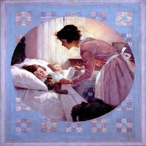 "Norman Rockwell, ""Mother Tucking Children Into Bed,"" 1921. Source: pinterest."