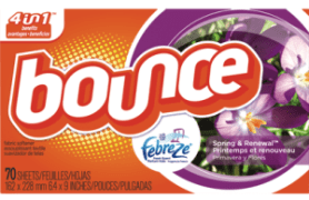 Bounce Spring Renewal drier sheets via Pinterest.