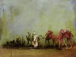 """Camels and Desert 3"" by Mahoor Shah on Fine Art America. (Direct website link embedded within.)"
