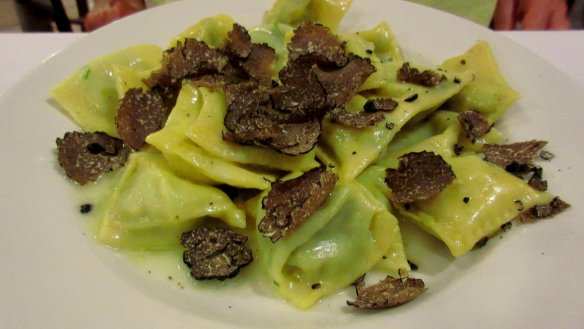 Ravioli with black truffles at La Greppia. Photo: my own.