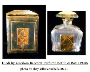 Original vintage Djedi, 1926 version. Photo originally from eBay. Source: guerlainperfumes.blogspot.com