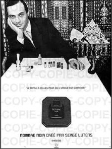 Serge Lutens in an ad for Nombre Noir. Source: Fragrantica.