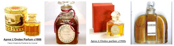 Apres L'Ondee vintage extrait in its early years. Collage by me. Photos originally sourced from left to right: 1) 1906 packaging from Guerlain Perfumes blog spot; 2) Flacon from the 1930s-1940s, perhaps even 1920s found on Pinterest via eBay Australia; 3) flacon from the 1940s via Guerlain Perfume blogspot; and 4) 1930s-1940s and war years flacon found on Pinterest via ubbcentral.com.