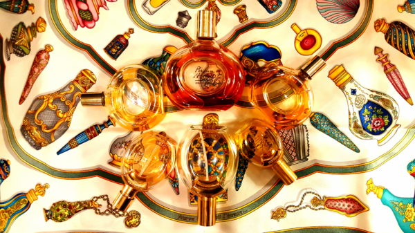 2eade7e32f Vintage Parfum d'Hermes, 1980s and 1990s EDTs. Note how the scarf has a  small Parfum d'Hermes bottle on the upper right side, in-between two of my  bottles.