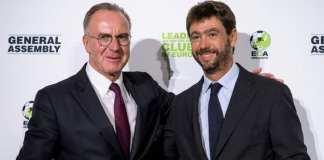 Les dirigeants de quatre clubs, dont Karl-Heinz Rummenigge (à gauche) auraient fait pression sur l'UEFA pour réformer la Ligue des champions. Image d'illustration. @ Fabrice COFFRINI / AFP