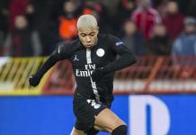 Kylian Mbappe of Paris Saint-Germain comes forward on the ball