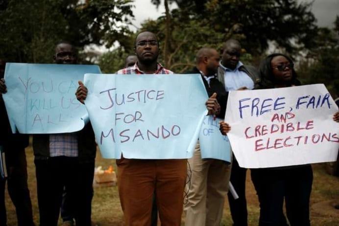 Le 1er août 2017, manifestation après l'assassinat de Chris Msando, le directeur des technologies de l'information et de la communication de la Commission électorale du Kenya. Baz Ratner / REUTERS