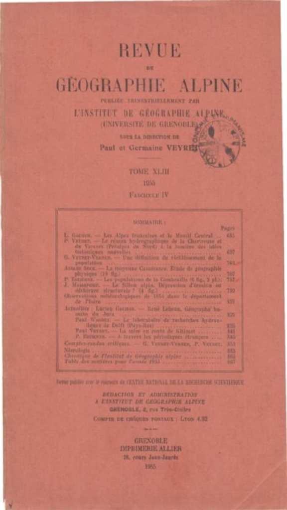 Revue de géographie alpine, tome 43, n°4, 1955.