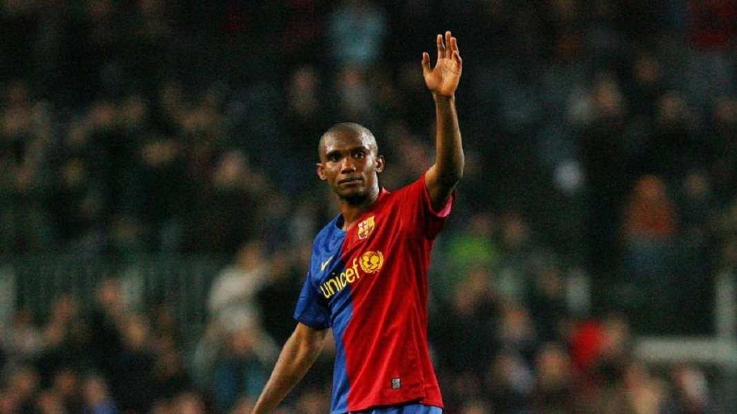 Le Camerounais Samuel Eto'o lorsqu'il portait les couleurs du FC Barcelone, en 2008.