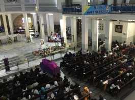 La messe en hommage à Colette Senghor, dans la cathédrale du Souvenir africain, à Dakar, le 28 novembre 2019.