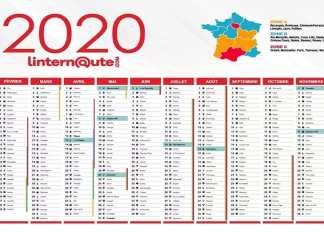 Calendrier 2020 gratuit indiquant les jours fériés et les vacances scolaires. Zoomer sur l'image et enregistrer sous pour le télécharger au format JPEG. © Kafunel.com