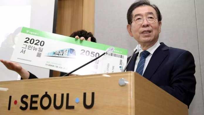 Park Won-soon à la mairie de Séoul le 8 juillet 2020. Yonhap via REUTERS