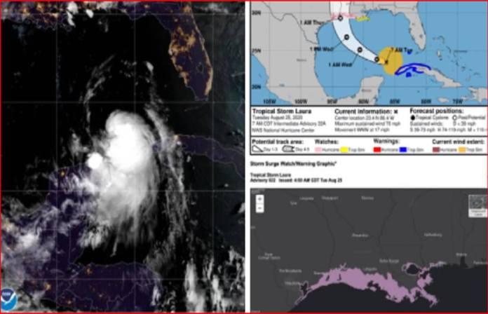 La tempête Laura est désormais un ouragan dans le Golfe du Mexique-Capture