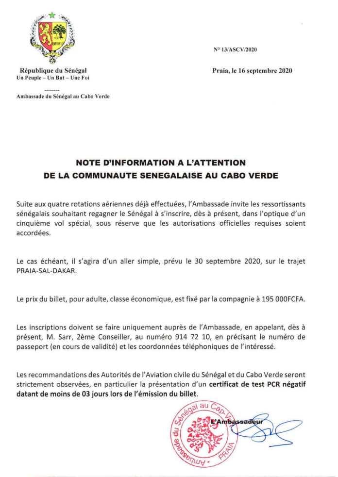 Note d'information de la communauté sénégalaise de Cabo Verde
