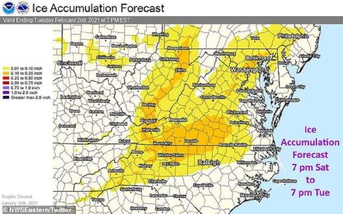 La neige qui se transforme en grésil devrait entraîner des accumulations de glace dans certaines parties de la Virginie et de la Caroline du Nord entre samedi et mardi.