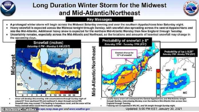 Le service météorologique national a déclaré que la tempête devrait commencer samedi soir, frappant en premier le Midwest et le sud des Appalaches