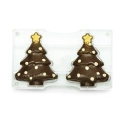 Stort Juletræ, Polycarbonat Chokoladeform - Decora