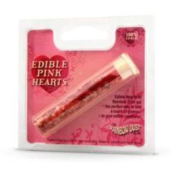 Spiselige Hjerter Pink - Rainbow Dust