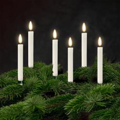 Juletræslys LED Real Flame belagt med stearin 6 stk