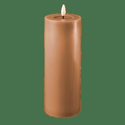 Real Flame Caramel brun LED Bloklys - Ø 7,5 x 20 cm