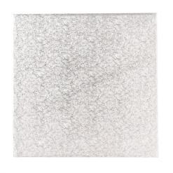 Sølv kagepap 30 cm – Firkantet