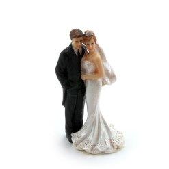 Topfigur til bryllupskage, brudepar 12cm