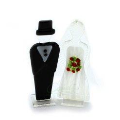 Topfigur til bryllupskage, brudepar i glas
