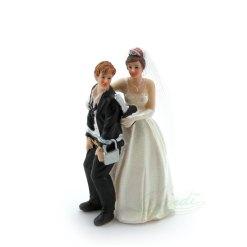 Topfigur til bryllupskage, brudepar m/hængelås