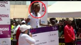 Without shame, Brilian Jepkoech changes her top to come for a second illegal award. [PHOTO/ COURTESY]