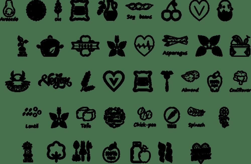 vegan icons, vegan, veggies