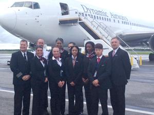 Dynamic Airways crewmembers yesterday shortly after landing at CIJA.