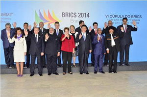 President Donald Ramotar (3rd back) with leaders who attended the meetings in Brazil.