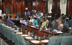 Speaker of the National Assembly, Raphael Trotman, officially informing the members of the Opposition of the President's decision.