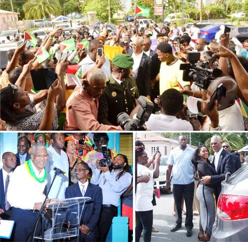 Composite photos show Guyanese in Barbados  welcoming President David Granger