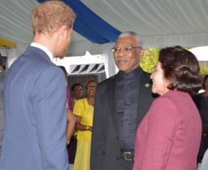 Prince Henry of Wales greeting President David Granger and First Lady, Ms. Sandra Granger at the Toast to the Nation event in Barbados on Wednesday.