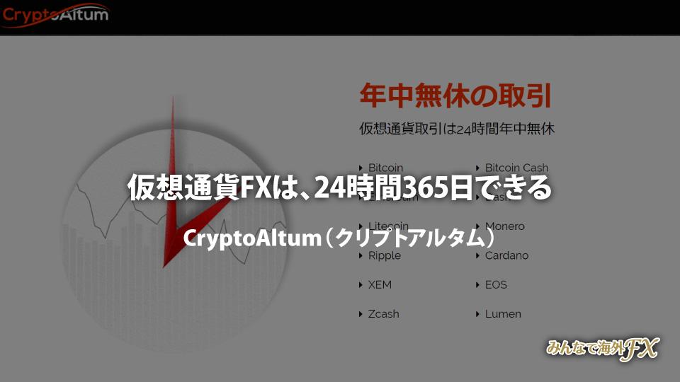 仮想通貨取引所 CryptoAltum(クリプトアルタム)では仮想通貨FX(ビットコインFX)が24時間365日できる