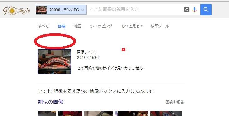 グーグル画像検索画面でヒットがなかったとき