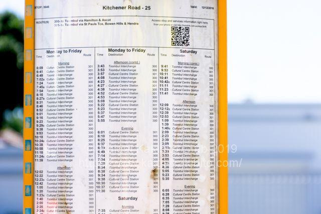 ブリスベンのバスの時刻表