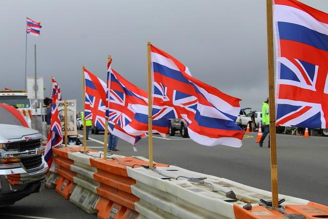 マウナケア山抗議デモではためくハワイ州旗